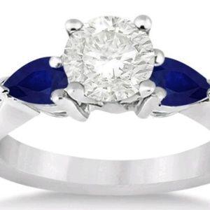 Genuine Sapphire and 'diamond' silver ring